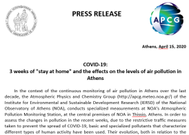 Our press release on air pollution levels in Athens during the COVID-19 pandemic